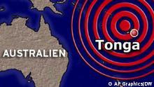 Karte Australien und Tonga TSUNAMI