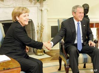 German chancellor Angela Merkel with President George W. Bush in the Oval Office, May 3, 2006