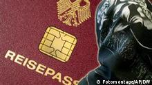 Symbolbild Einbürgerung Reisepass Frau mit Kopftuch