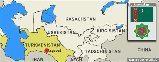 Karte Zentralasien Turkmenistan Hauptstadt Asgabat Quelle: DW-WORLD