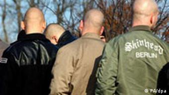 A group of skinheads seen from behind