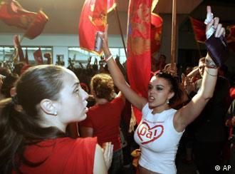Montenegro festeja el triunfo del da, el sí a la independencia.