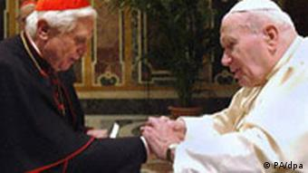 Cardinal Ratzinger with his mentor Pope John Paul II in 2004.