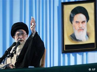 Khamenei defended Iran's nuclear program in front of a picture of his predecessor, Khomeini