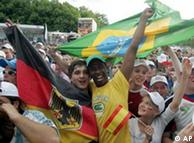 Brazilian and German fans at the party