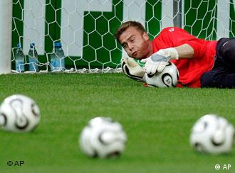 Poland goalie Artur Boruc practices during an official training session