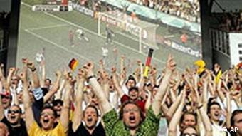 German soccer fans cheer after Germany scored a goal at 2006 World Cup