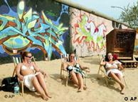 Girls sunbathing at a beach bar near the remains of the Berlin Wall