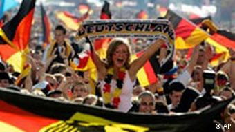 Thousands of soccer fans celebrate the start of the World Cup 2006 at the 'Fan Mile', a public viewing zone in Berlin