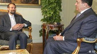 Laridschani mit Ägyptens Präsident Mubarak