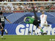 Czech Republic's Jan Koller (right) scored the first goal
