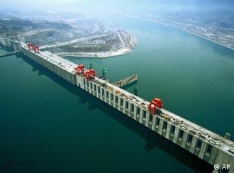 An aerial image of the Three Gorges Dam in Yichang, central China's Hubei Province