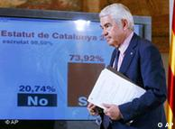 Catalonia's then-regional president Pasqual Maragall announcing the referendum results
