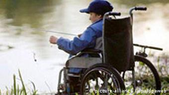A disabled child fishing.