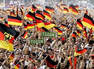 Germany fans waving flags