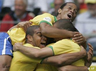 Members of Brazil's national soccer team celebrate their 3-0 victory against Ghana at the 2006 World Cup