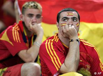 Two fans for Spain look on after the 3-1 loss to France in the Spain vs France, Round of 16, World Cup 2006, soccer match at World Cup stadium in Hanover, Germany, on Tuesday, June 27, 2006.