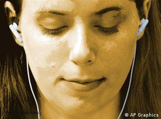 Woman listens to Apple iPod music player using earbuds, drawing, partial graphic