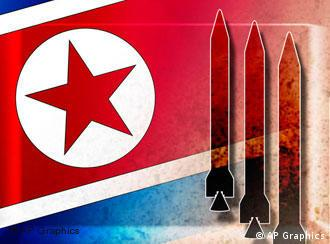 Graphic of North Korean flag and rockets