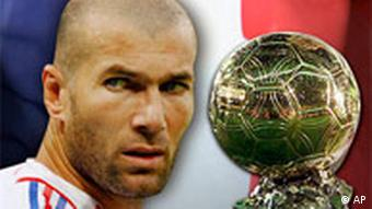 WM06 Goldener Ball für Zinedine Zidane headshot, French national soccer team player, over flag texture, partial graphic