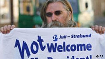 US-Präsident George W. Bush ist nicht willkommen Protestaktion in Stralsund