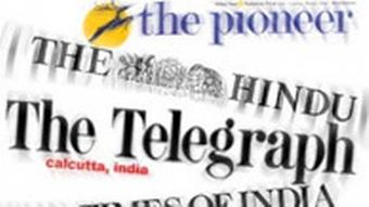 Grafik Presseschau Logos indischer Zeitungen: The Pioneer, The Hindu, The Telegraph, The Times of India