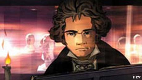 Beethoven at the piano, shown as a comic  Copyright: DW-TV