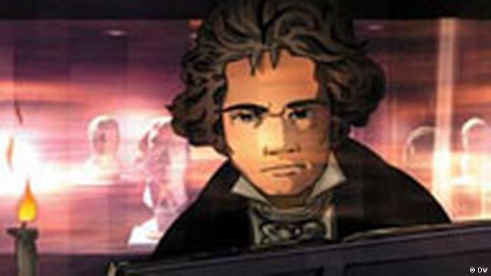 Beethoven at the piano, shown as a comic 