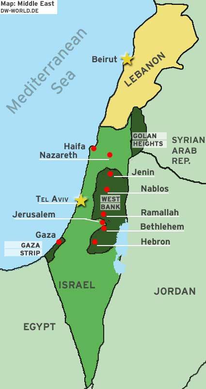Map Middle East Israel Lebanon Karte Nahost Israel Libanon englisch Beirut Tel Aviv Golan Höhen Gaza-Streifen