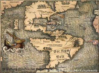 O Novo Mundo num mapa de Sebastian Münster, 1538
