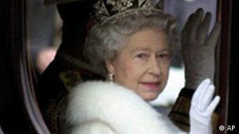Britain's Queen Elizabeth II waves from her carriage