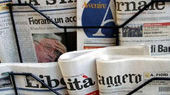 Italian newspapers on the stands