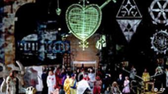 A scene from Richard Wagner's opera Parsifal, played at the Richard Wagner Festival 2005 in Bayreuth, southern Germany, Friday July 29, 2005. (AP Photo/Bayreuther Festspiele, Jochen Quast) ** EDITORIAL USE DURING THE WAGNER FESTIVAL 2005 ONLY, MANDATORY CREDIT BAYREUTHER FESTSPIELE GMBH/JOCHEN QUAST **