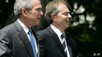 George Bush and Tony Blair walking