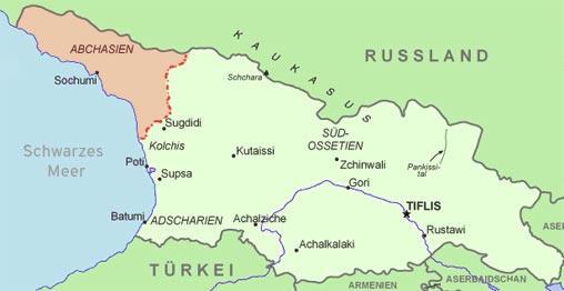 Georgien Karte Regionen.Raketen über Georgien Politik Dw 07 08 2007