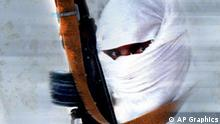 Man wearing hood carrying weapon, on texture, partial graphic