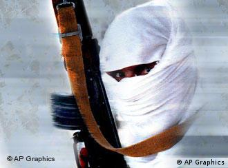 A hooded terrorist with assault rifle