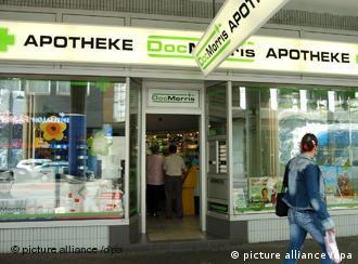 Window of a DocMorris pharmacy