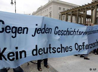 German protestors also joined in the condemnation of the exhibition in Berlin
