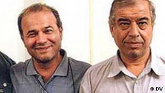 ابراهیم مددی (راست)، نایب رئیس در کنار منصور اسانلو، رئیس سندیکای شرکت واحد اتوبوسرانی تهران