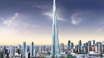 And artist's reditioning of the Burj Dubai tower in the Uniter Arab Emirates.