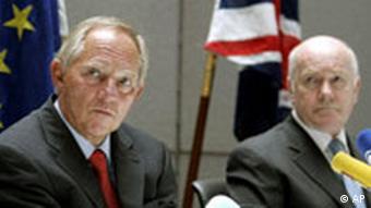 EU Anti Terror Konferenz in London Wolfgang Schäuble und John Reid