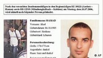 Terror Deutschland Ermittlung Fahndungsplakat Dschihad Hamad Bahn-Attentäter