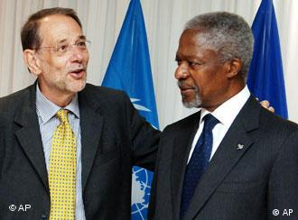 Kofi Annan, right, looks on as EU Foreign Policy Chief Javier Solana talks during Friday's meeting