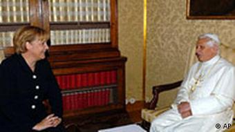 Pope Benedict XVI meets with German Chancellor Angela Merkel at his summer residence