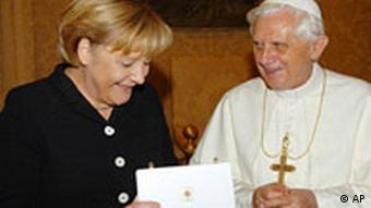 Chancellor Angela Merkel smiles during a meeting with Pope Benedict XVI