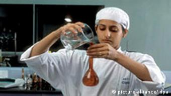 A woman in a pharmaceutical laboratory in India