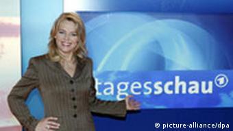 Eva Herman at the Tagesschau set