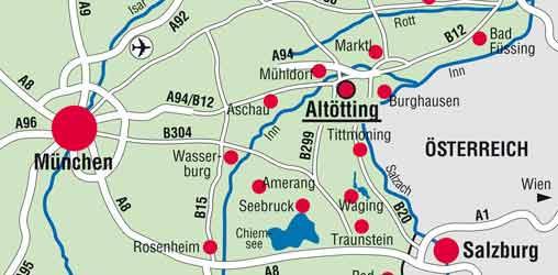 Karte von Altötting und Umgebung H.Heine/Verkehrsbüro Altötting