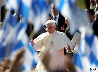 The pope arrived in Munich to a sea of Bavarian flags and huge crowds